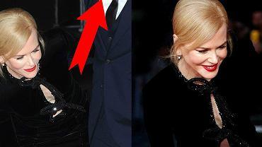 Nicole Kidman nie potrafiła ujarzmić swojej seksownej sukni, ale nawet mimo oszałamiającej kreacji i zmagań z przydużym rozporkiem, to nie ona przyciągnęła naszą uwagę. Chodzi o mężczyznę, który stoi obok niej.