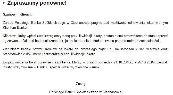 Komunikat Polskiego Banku Spółdzielczego w Ciechanowie