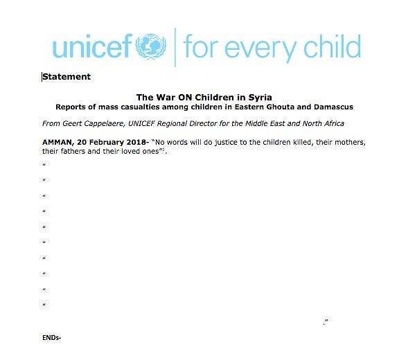 Puste oświadczenie UNICEF-u ws. Syrii