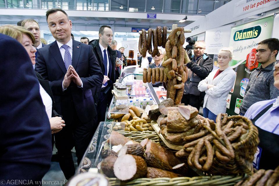 Prezydent Andrzej Duda zwiedza Narodową Wystawę Rolniczą 2018 na Międzynarodowych Targach Poznańskich, która została zorganizowana na stulecie odzyskania niepodległości przez Polskę