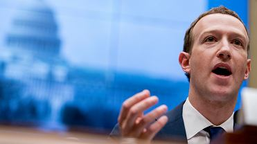 Mark Zuckerberg, dyrektor generalny Facebooka podczas przesłuchania przed Kongresem Stanów Zjednoczonych, Waszyngton 11.04.2018