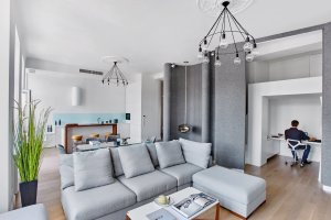 Oryginalne mieszkanie ze ścianą z filcu [MODEL WNĘTRZA 3D]