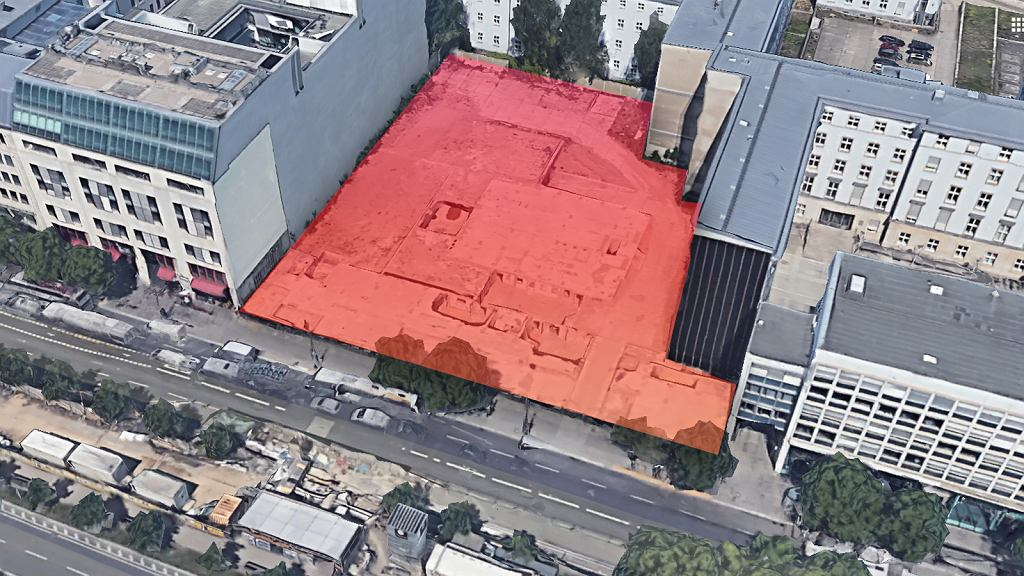 Pozostałość po wyburzonym budynku ambasady RP w Berlinie, fot. Google Satelita