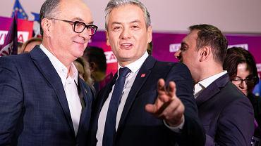 Włodzimierz Czarzasty i Robert Biedroń podczas konwencji krajowej SLD i Lewicy. Warszawa, 14 grudnia 2019