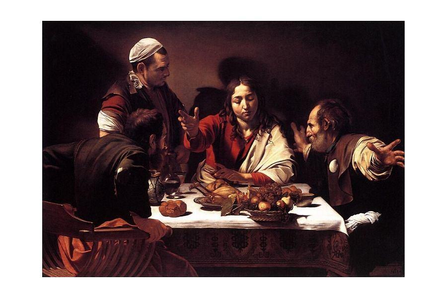 Obraz 'Wieczerza w Emaus' namalowany przez Michelangelo Merisi da Caravaggio (1601)