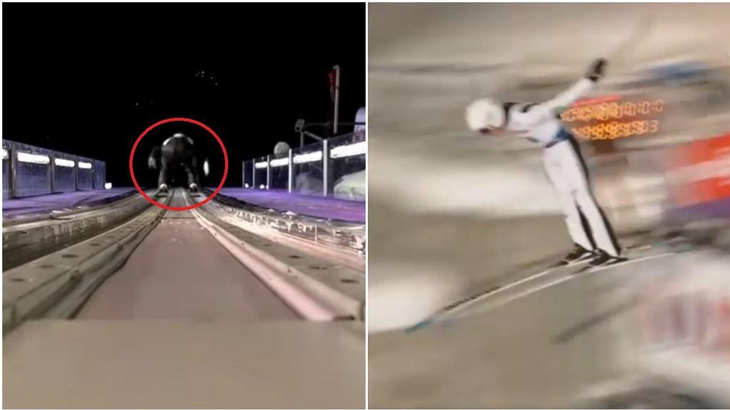 Odbicie Yukiyi Sato w trakcie skoków w Zakopanem w 2020 (lewa strona) i 2021 (prawa strona)