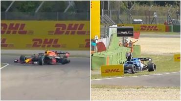 Zniszczenia w bolidach Sergio Pereza i Estebana Ocona po kolizji na treningu przed GP Emilii-Romagni