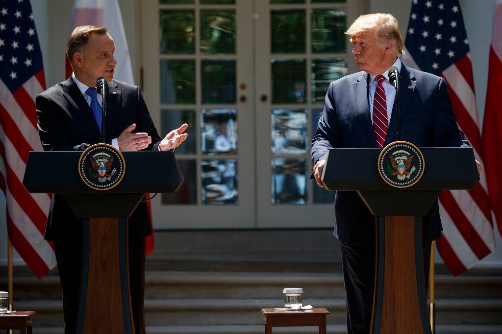12.06.2019, Waszyngton, wspólna konferencja prasowa Donalda Trumpa i Andrzeja Dudy w Ogrodzie Różanym w Białym Domu.