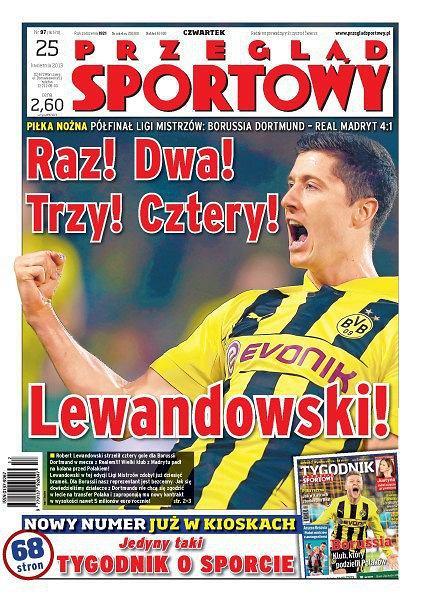Robert Lewandowski na okładce Przeglądu Sportowego. 'Raz! Dwa! Trzy! Cztery! Lewandowski'
