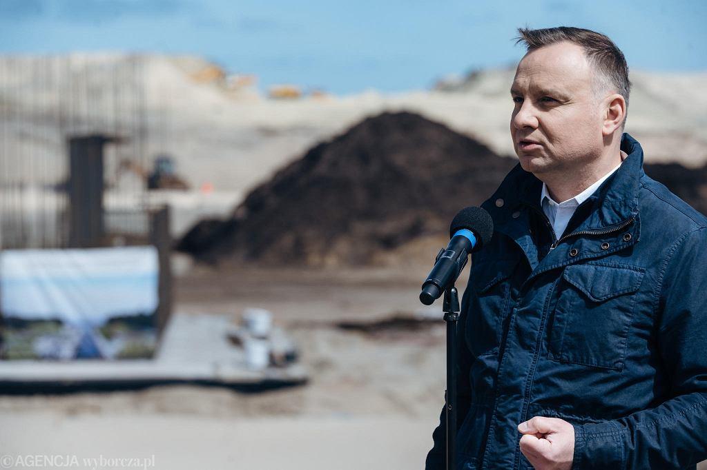 Przekop Mierzei Wiślanej . Konferencja prasowa prezydenta Andrzeja Dudy