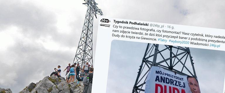 Wybory prezydenckie. Plakat Andrzeja Dudy powieszony na Giewoncie