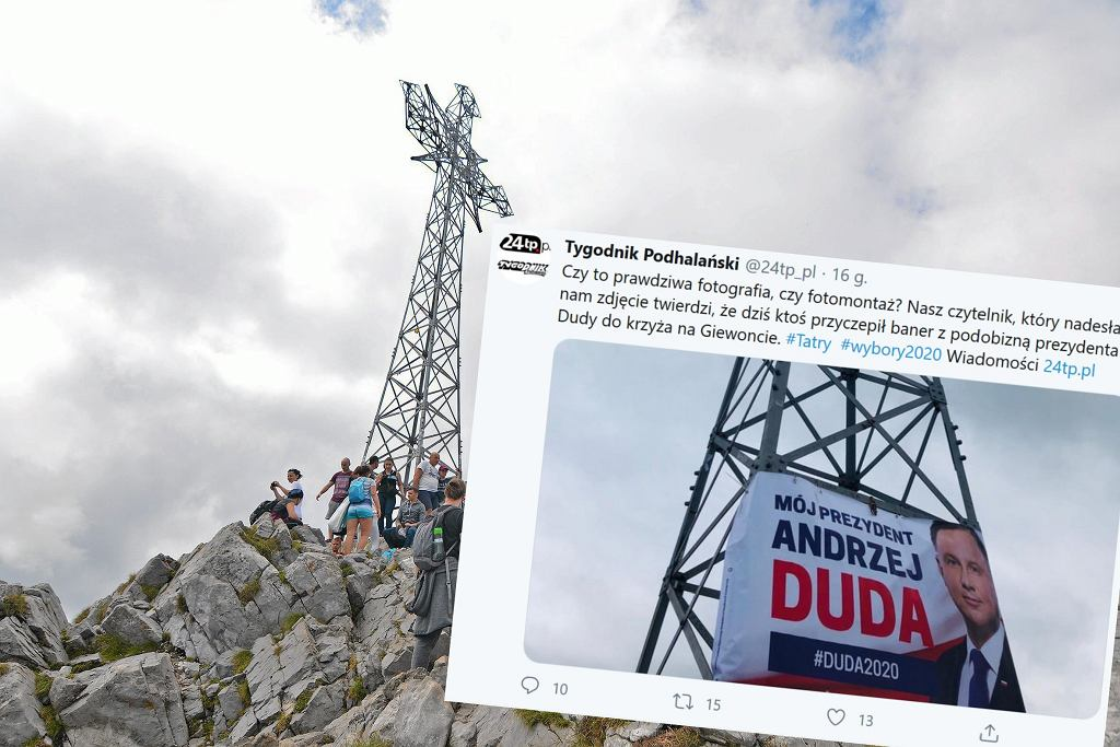 Plakat Andrzeja Dudy na Giewoncie