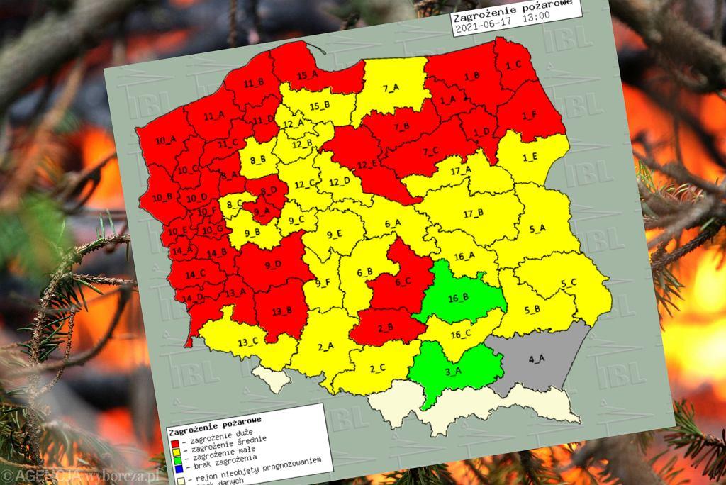 Zagrożenie pożarowe w Polsce - 17 czerwca