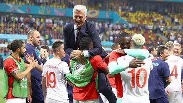 The joy of the Swiss after winning the match with France