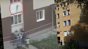 Matka wyrzuciła dzieci z trzeciego piętra, aby uratować im życie