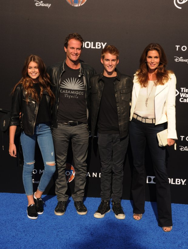 Kaia Gerber; Rande Gerber, Cindy Crawford, daughter Kaia Gerber and son Presley Gerber attend the Premiere of