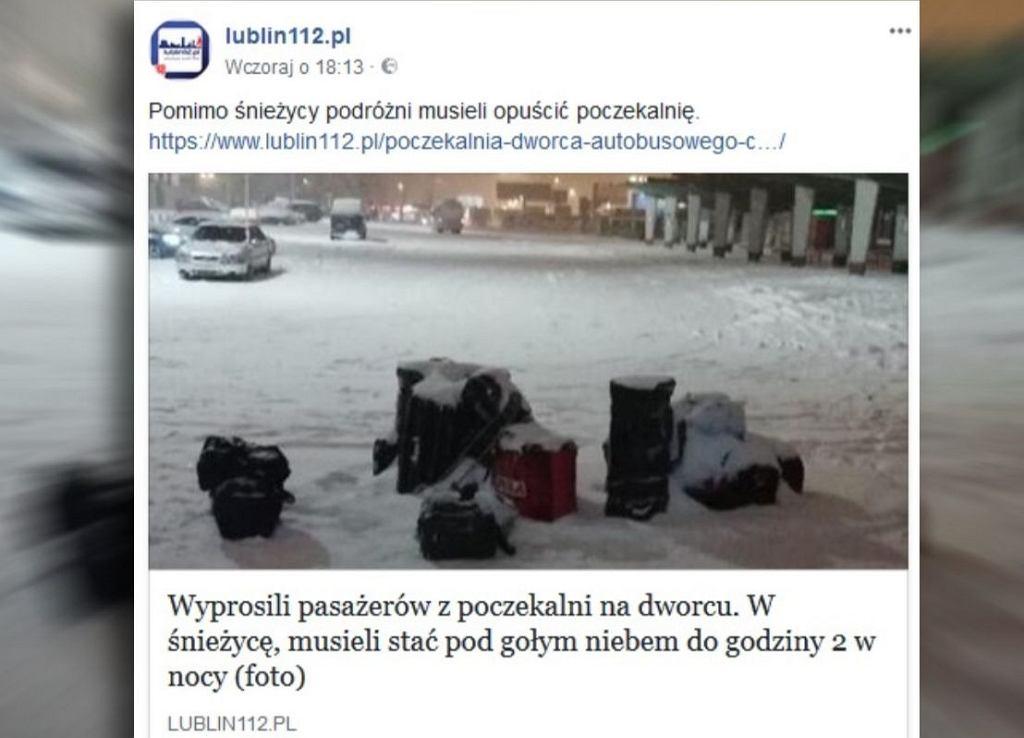 Bagaże przed dworcem w Lublinie