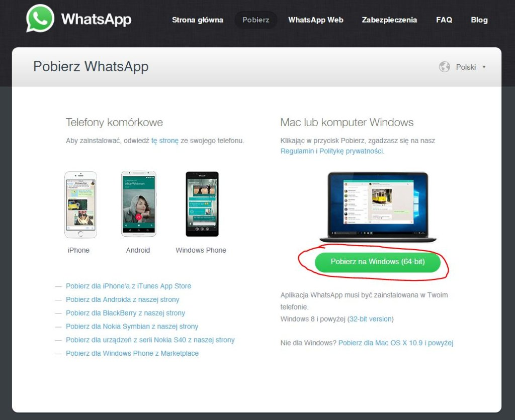 WhatsApp do pobrania na Windows i OS X