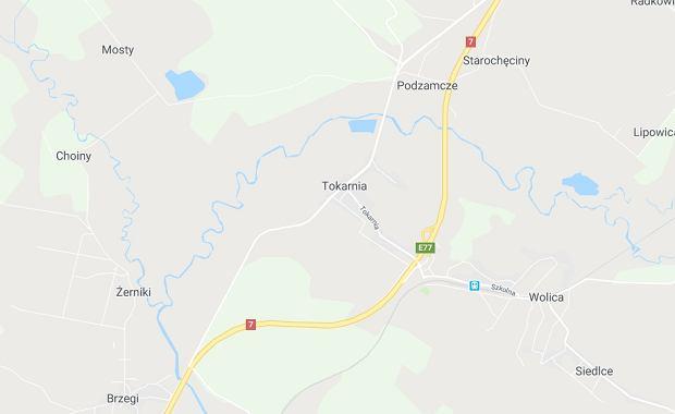 Wypadek na drodze S7 koło miejscowości Tokarnia