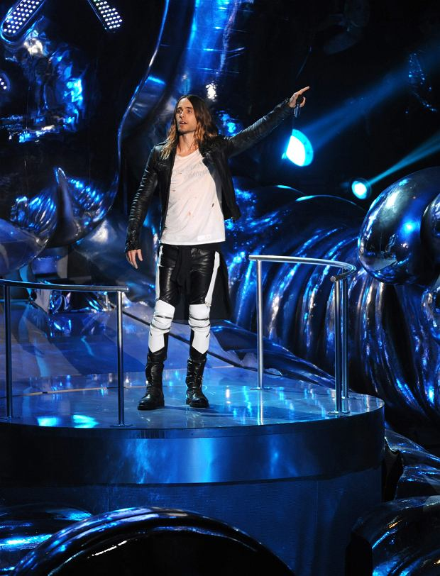 Jared Leto introduces a performance by Kanye West at the MTV Video Music Awards on Sunday, Aug. 25, 2013, at the Barclays Center in the Brooklyn borough of New York. (Photo by Scott Gries/Invision/AP)