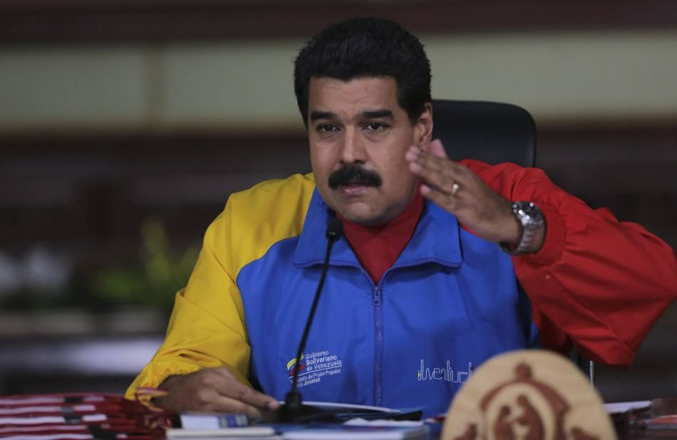 `Venezuelas President Nicolas Maduro speaks during a meeting with ministers at Miraflores Palace