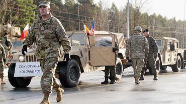 Powitanie żołnierzy amerykańskiej Pancernej Brygadowej Grupy Bojowej  w Żaganiu