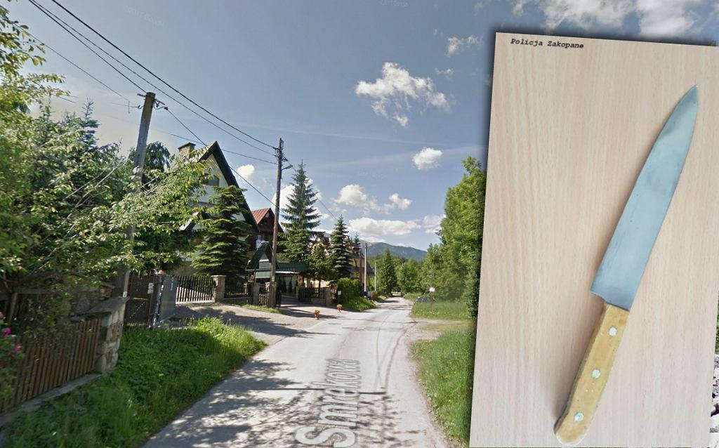 Ulica Smrekowa i nóż, którym zaatakował napastnik