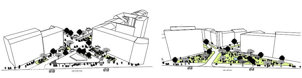 Schematyczny rysunek przedstawiający plan zagospodarowania dwóch miejskich skwerów. Z lewej u zbiegu Strzeleckiej i 11 Listopada, z prawej u zbiegu Strzeleckiej, 11 Listopada i Kłopotowskiej