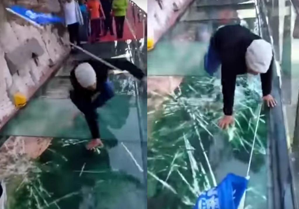 Samo chodzenie po szkle kilometr nad ziemią to dla Chińczyków za mało, dlatego na kładce na górze Yuntai zamontowali przerażające efekty specjalne