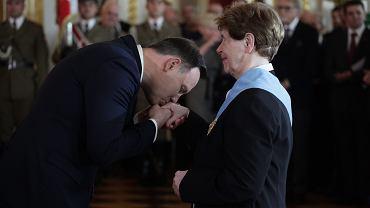 Zofia Romaszewska odznaczana Medalem Orła Białego przez prezydenta RP Andrzeja Dudę. Warszawa, Zamek Królewski, 3 maja 2016 r.