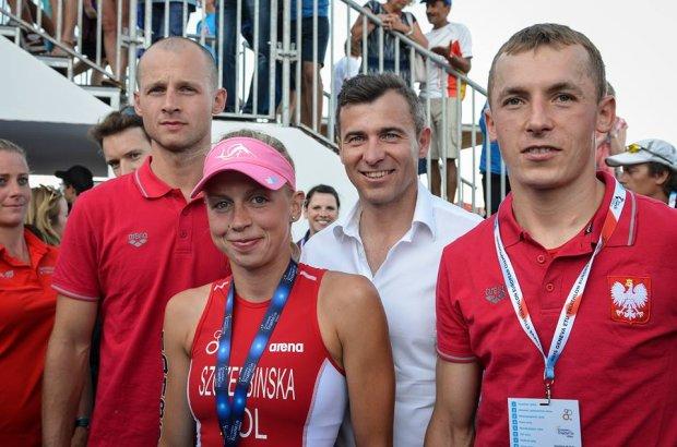 Małgorzata Szczerbińska, Łukasz Wietecki, Tomasz Domagała i Andrzej Olejniczak na Mistrzostwach Europy w Genewie.
