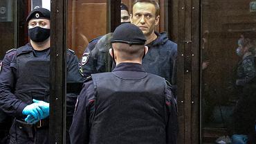Aleksiej Nawalny podczas rozprawy w moskiewskim sądzie, 2 lutego 2021 r.