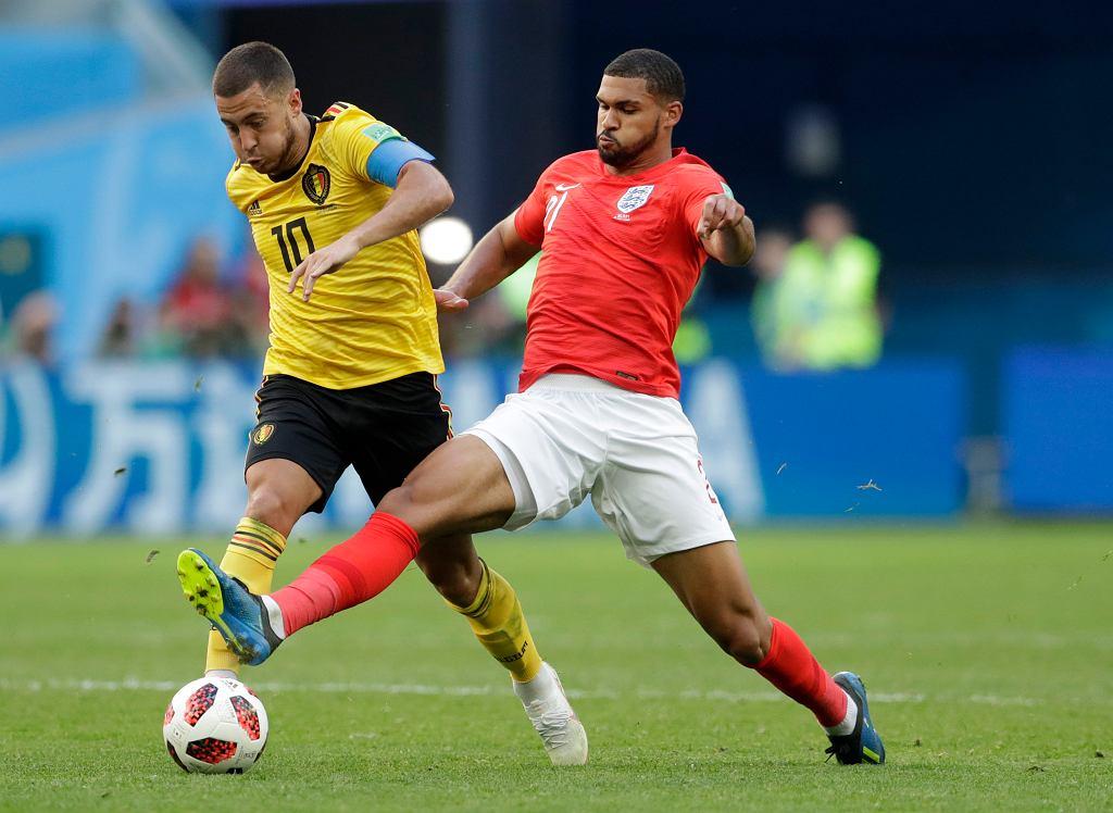 MŚ 2018. Belgia - Anglia, z piłką Eden Hazard