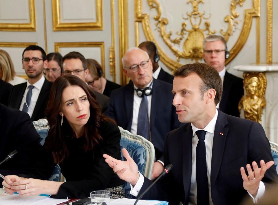 Premier Nowej Zelandii Jacinda Ardem i prezydent Francji Emmanuel Macron podczas spotkania w Pałacu Elizejskim, 15.05.2019