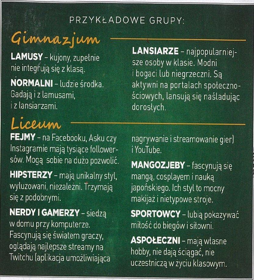 Przykładowe grupy