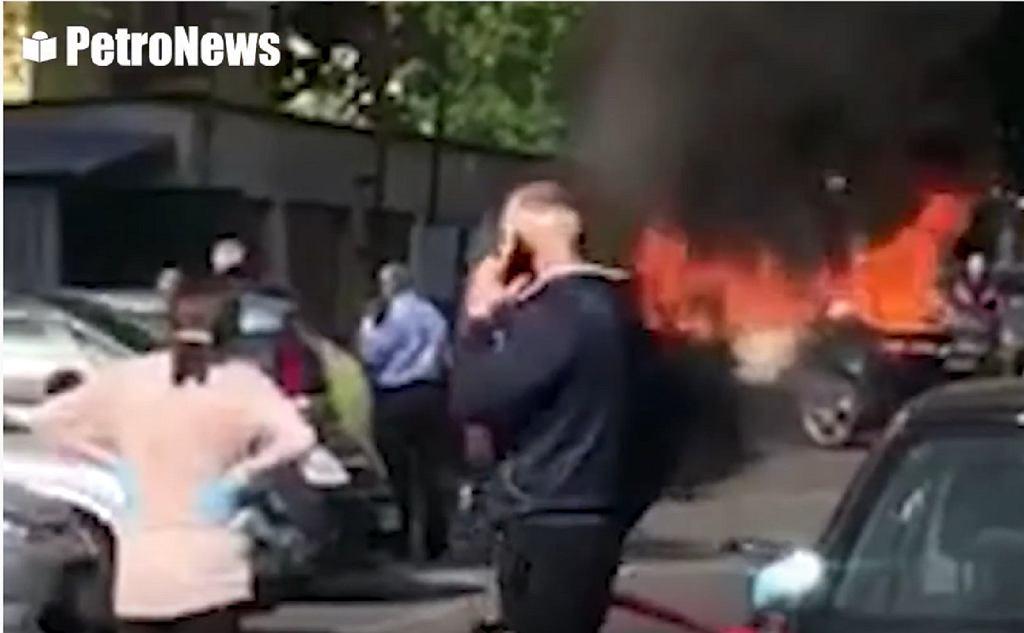 Pożar auta w Płocku