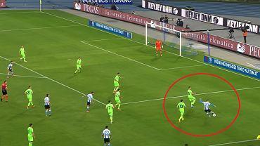 Asysta Piotra Zielińskiego do Driesa Mertensa w meczu Napoli - Lazio