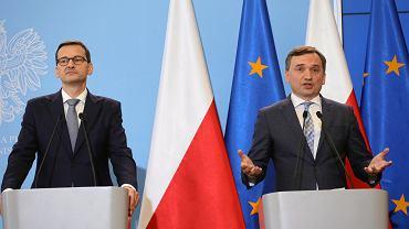 Kancelaria Prezesa Rady Ministrów. Premier Mateusz Morawiecki i minister sprawiedliwości Zbigniew Ziobro, 18.06.2019