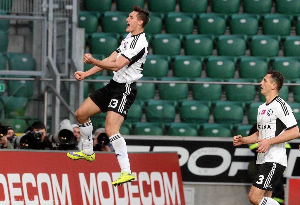 Tak się cieszył z gola Michał Żyro w meczu 28. kolejki z Zawiszą (2:0)