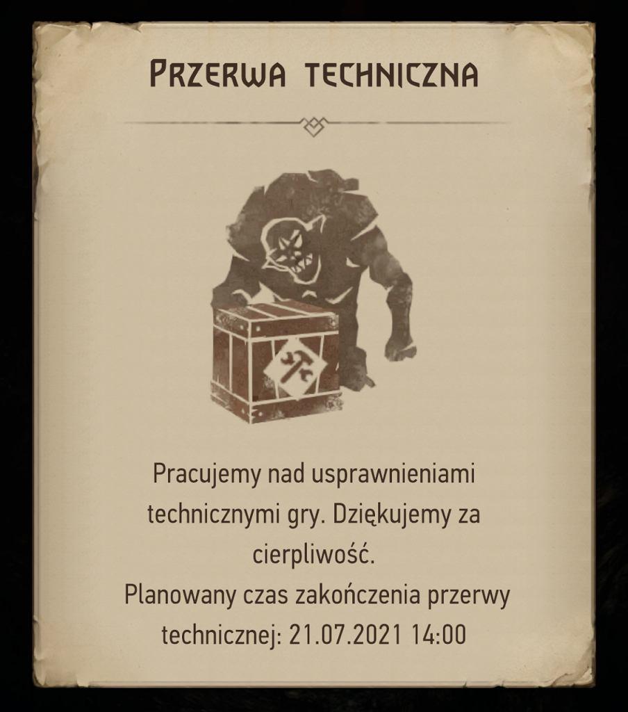 Przerwa techniczna w Wiedźmin: Monster Slayer