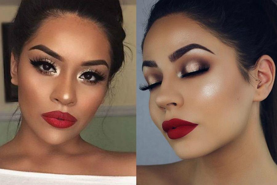 Makijaż sylwestrowy musi być widoczny, więc do czerwonej sukienki dobierz srebrne lub złote cienie do powiek