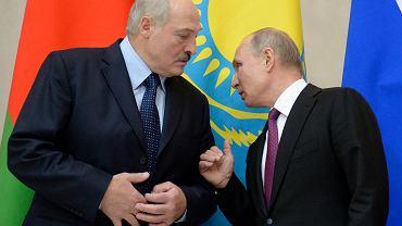 6.12.2018, Petersburg, Aleksander Łukaszenka i Władimir Putin na Eurazjatyckim Szczycie Ekonomicznym.
