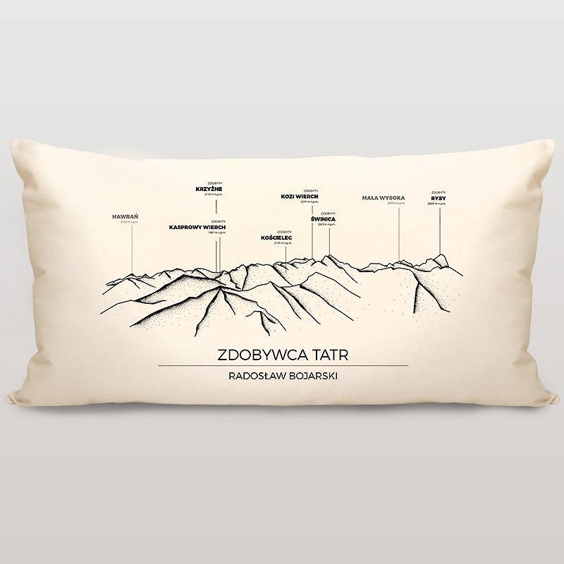 Bawełniana poduszka z nadrukiem dla miłośników gór