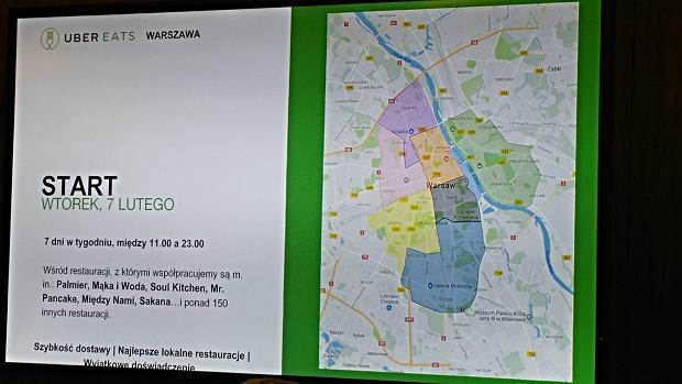 Zasięg UberEATS w Warszawie
