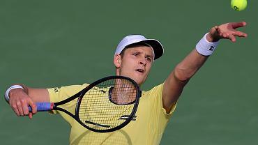 Hubert Hurkacz na turnieju w Dubaju
