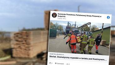 Słońsk. 22-letnia pracownica tartaku przebita drewnianą listwą na wylot