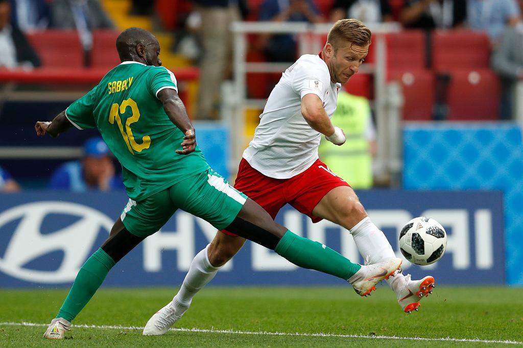 Youssouf Sabaly i Jakub Błaszczykowski w meczu Polska-Senegal. Mistrzostwa Świata w Piłce Nożnej w Rosji, Moskwa, Stadion Spartaka, 19 czerwca 2018