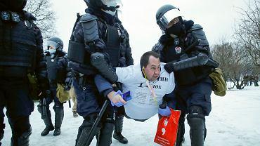 Moskwa, protesty przeciwko uwięzieniu Aleksieja Nawalnego. 23.01.2021.