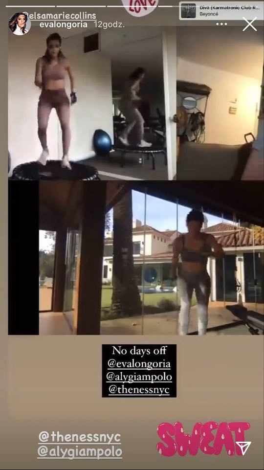 Eva Longoria ćwiczy na trampolinie