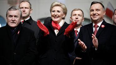 Od lewej: Piotr Gliński, Agata Kornahauser-Duda, Andrzej Duda